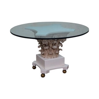 Vintage Hollywood Regency Corinthian Capital Round Glass Top Pedestal Dining Table For Sale