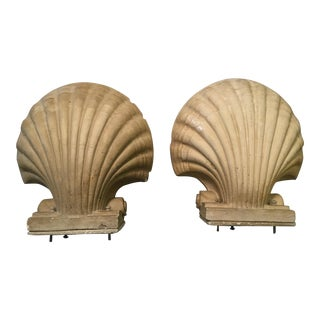 Serge Roche Style Plaster Shell Sconces - A Pair