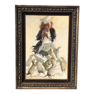 Vintage Pied Piper Painting by Robert Owen