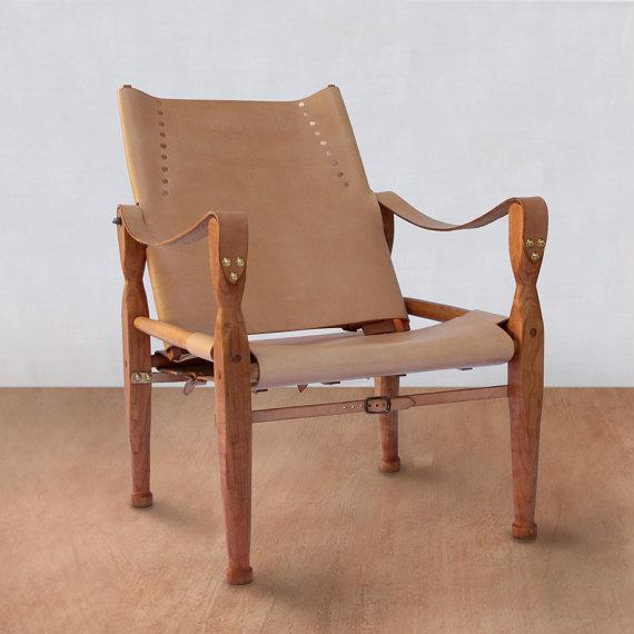 Bespoke Nude Leather Safari Lounge Chair For Sale In Kansas City - Image 6 of 6