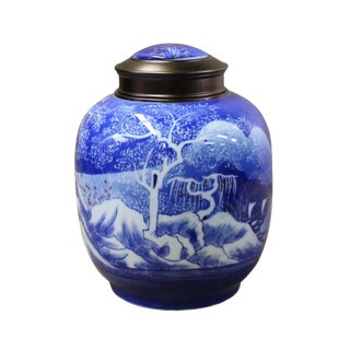 Oriental Handmade Blue White Porcelain Metal Lid Container Urn For Sale
