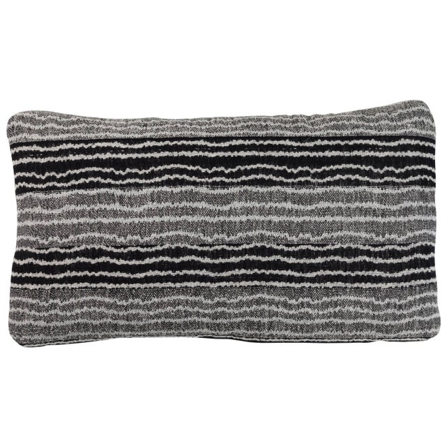 2010s Indian Handwoven Pillow Sm. Ocean Stripe Blk/Wht For Sale - Image 5 of 5