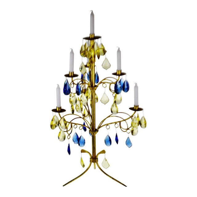 Vintage Italian Tole Gold Gilt Candelabra With Multi - Colored Cut Glass Prisms For Sale - Image 12 of 13