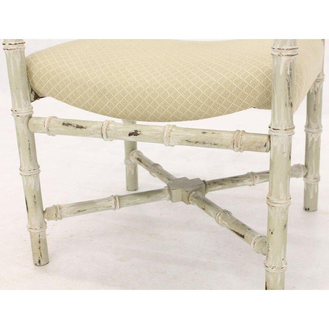 Pair of Distressed Finish Faux Bamboo Capitan Chairs With X Bases For Sale - Image 12 of 13