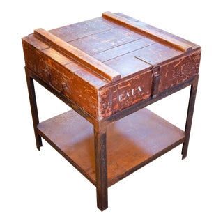 Belgian Campaign Chest as Side Table on Iron Stand, circa 1900 For Sale