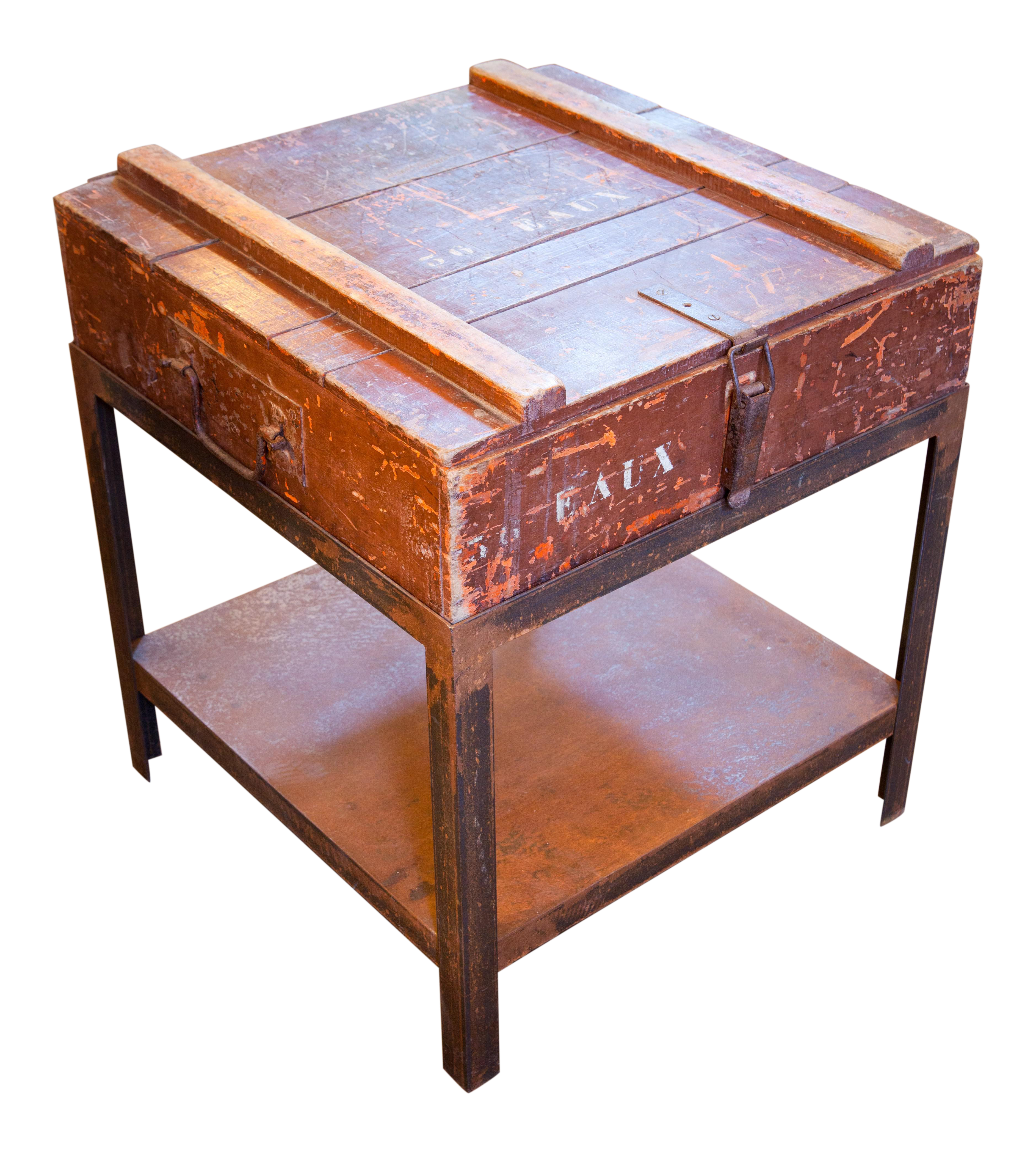Belgian Campaign Chest As Side Table On Iron Stand, Circa 1900   Image 1 Of