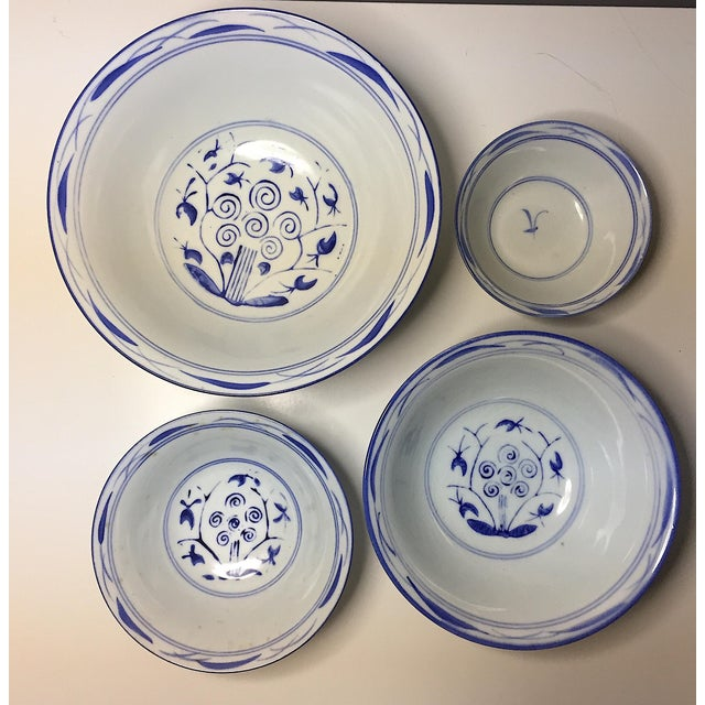 Asian Chinese Blue & White Stacking Bowls - Set of 4 For Sale - Image 3 of 5