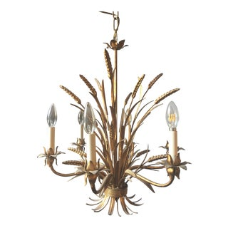 Mid-Century Modern Gilded Tole Chandelier With Wheat Shaffs For Sale