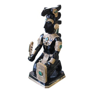 Teotihuacan Obsidian Aztec Warrior Sculpture With Gold & Turquoise Accents For Sale