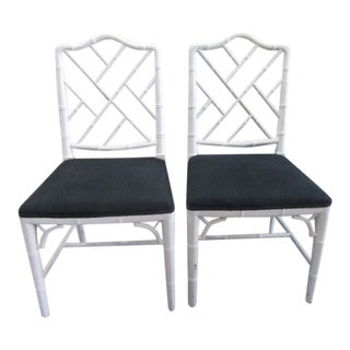 Chippendale Faux Bamboo Side Chairs - a Pair For Sale