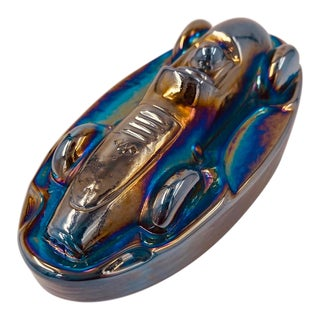 Vintage Carnival Glass Race Car Paperweight For Sale