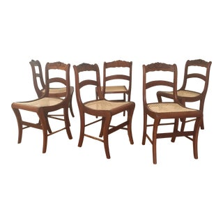 19th Century Victorian Hand Carved Walnut Dining Side Chairs - Set of 6