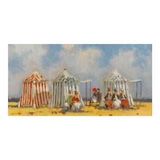 Frederick H. McDuff - Figures With Cabanas at the Beach -Oil Painting