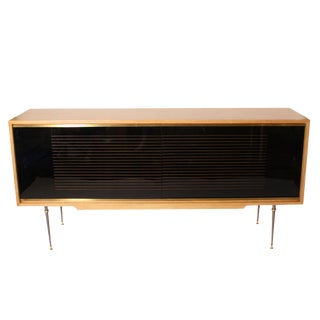 French Oak Credenza With Opaline Glass Drawers by Baptistin Spade, C. 1940 For Sale
