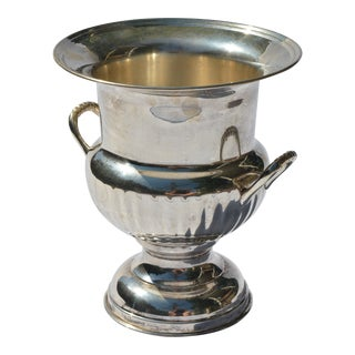 20th Century English Traditional Silver Plated Trophy Style Champagne Bucket