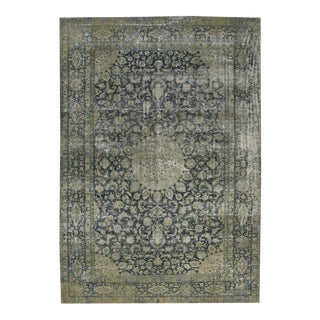 Distressed Antique Persian Kerman with Modern Industrial Style For Sale