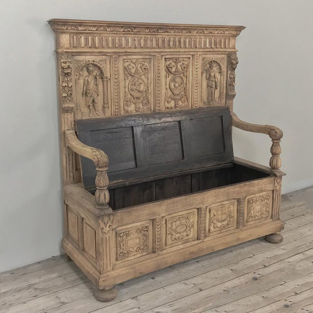 19th Century Italian Stripped Oak Hall Bench For Sale - Image 4 of 13