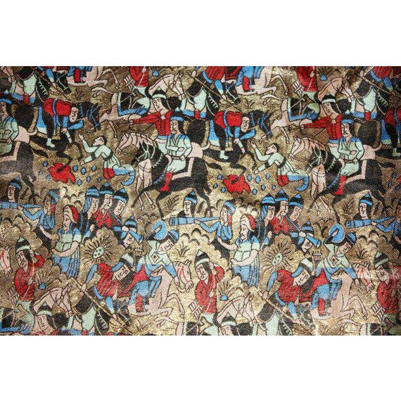 """1920s to 1930s silk gold brocade figural scarf/shawl lined with champagne silk and self-fringed. It measures 72"""" long by..."""