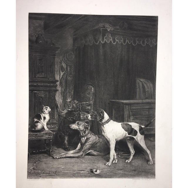 A very beautiful E. L. Lambert Lithograph of dogs and a cat titled Jack Sam Shot and Puss. a greyhound, pointer and an...