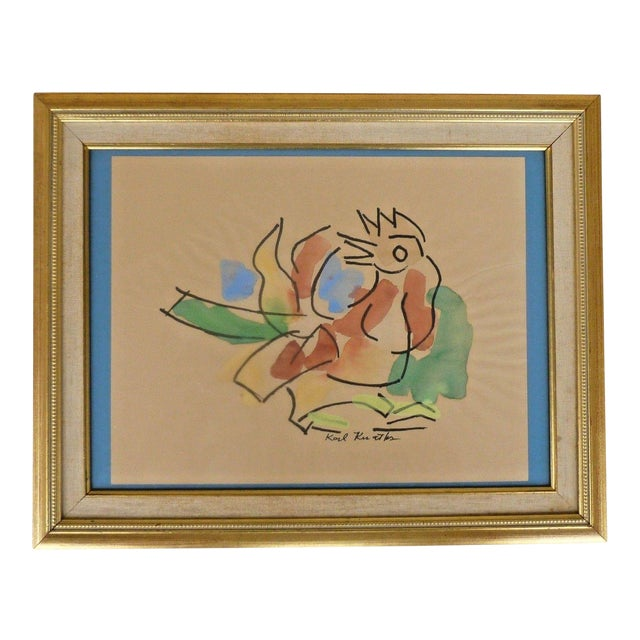 Early 20th Century Antique Karl Otto Karl Knaths Rooster Gouache on Paper Painting For Sale