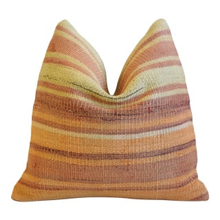 """Orange & Gold Boho-Chic Striped Turkish Carpet Feather/Down Pillow 18"""" Square For Sale"""