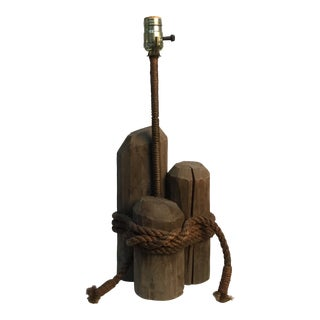 Vintage Nautical Rustic Wood and Rope Table Lamp For Sale