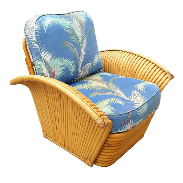 Original Rattan Fan Arm Lounge Chair with Ottoman in bark cloth covering. More Available, Please ask. Also available in...