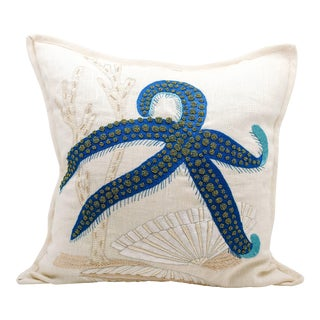 Embroidered Linen Starfish Pillow For Sale