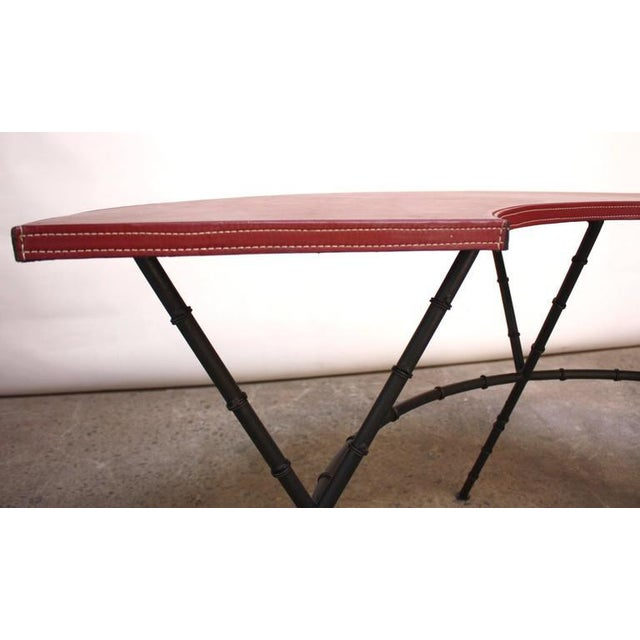 Metal 1950s Red Leather and Faux-Bamboo Demilune Desk Table For Sale - Image 7 of 10