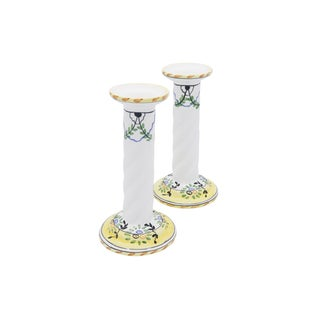 Portuguese Porcelain Candlestick Holders - a Pair Preview