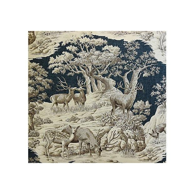 """25"""" Custom Tailored Woodland Toile Deer & Velvet Feather/Down Pillows - Pair For Sale - Image 4 of 11"""