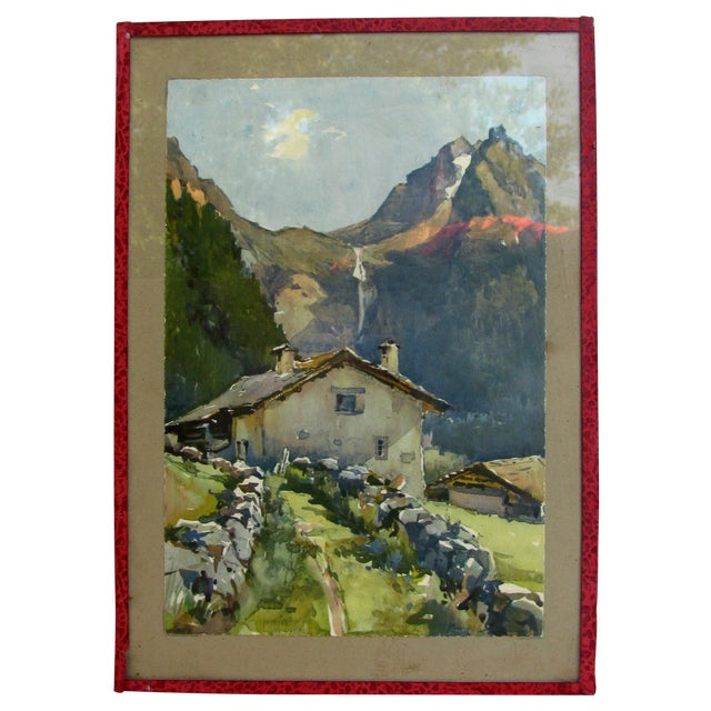 Serene French Alpine Watercolor - Image 1 of 3