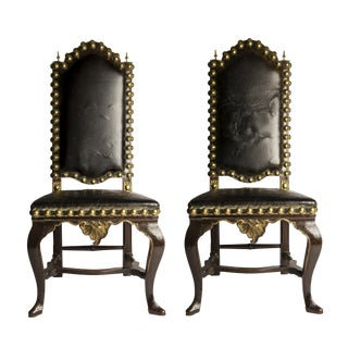 Pair of Black Leather Spanish Baroque Studded Walnut Side Chairs, 18th Century For Sale