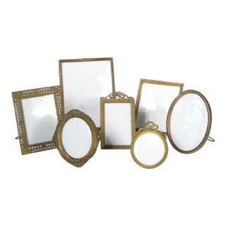 Traditional Brass Picture Frames - Set of 7 For Sale