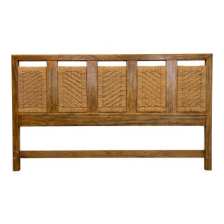 Drexel Heritage Woodbriar Pecan Campaign Style King Headboard For Sale