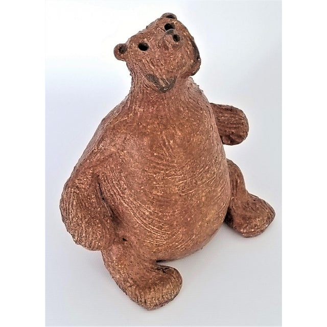 Vintage 1970s Danish Modern Studio Art Pottery Bear Sculpture- Signed For Sale - Image 13 of 13