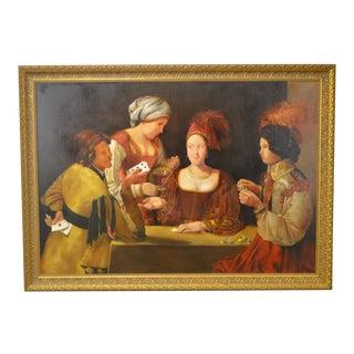 Italian Renaissance Style Large Gilt Frame Oil Painting