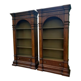 Vintage Drexel 1968 Et Cetera French Style Aged Walnut Solid Wood Bookcases - a Pair For Sale