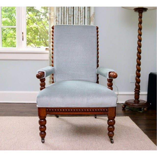 English Classic 20th Century Upholstered English Bobbin Turned Lounge Chair on Castors For Sale - Image 3 of 12