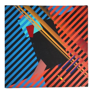 1980s Postmodern Striped Abstract Painting For Sale