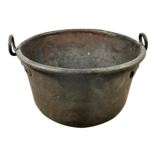 Ancient Italian Copper Bucket With Handles For Sale