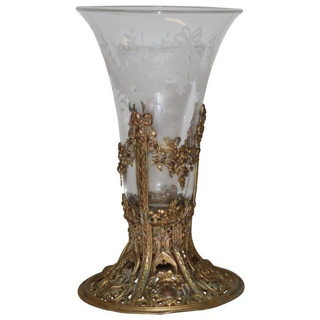 19th Century French Ormolu Metal Etched Glass - Image 10 of 10