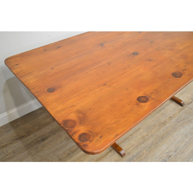 Wood Farmhouse Pine Trestle Base Tilt Top Dining Table For Sale - Image 7 of 13