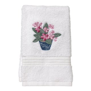 Pink Cache Pot Guest Towel White Terry, Embroidered For Sale