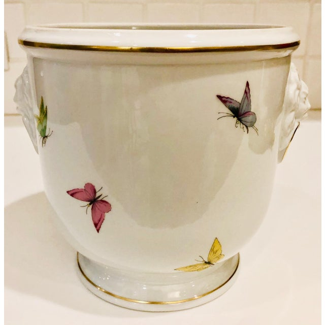 Traditional 1930s Limoges Butterflies and Lion's Head Cachepot For Sale - Image 3 of 13