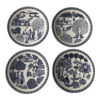 1990s Set of Blue & White Four Seasons Plates From Finland