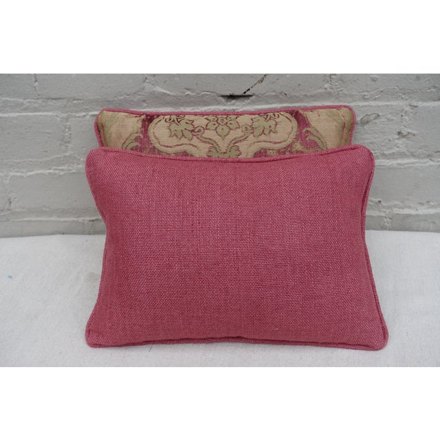 Antique Pink And Red Textile Pillows - Pair - Image 5 of 5