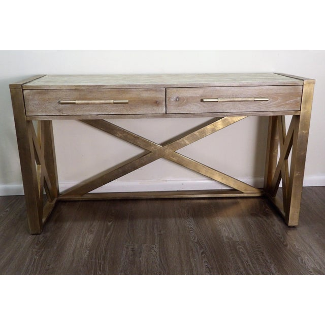 Five foot console table from Hooker Furniture Company, in great condition. The console features distressed wood finish as...