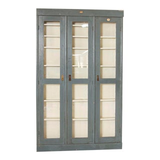Antique Gray Painted Narrow 3 Door Cabinet Bookcase For Sale
