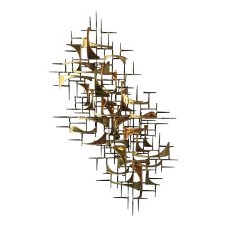 1980s Jere Style Brass and Copper Abstract Wall Sculpture For Sale